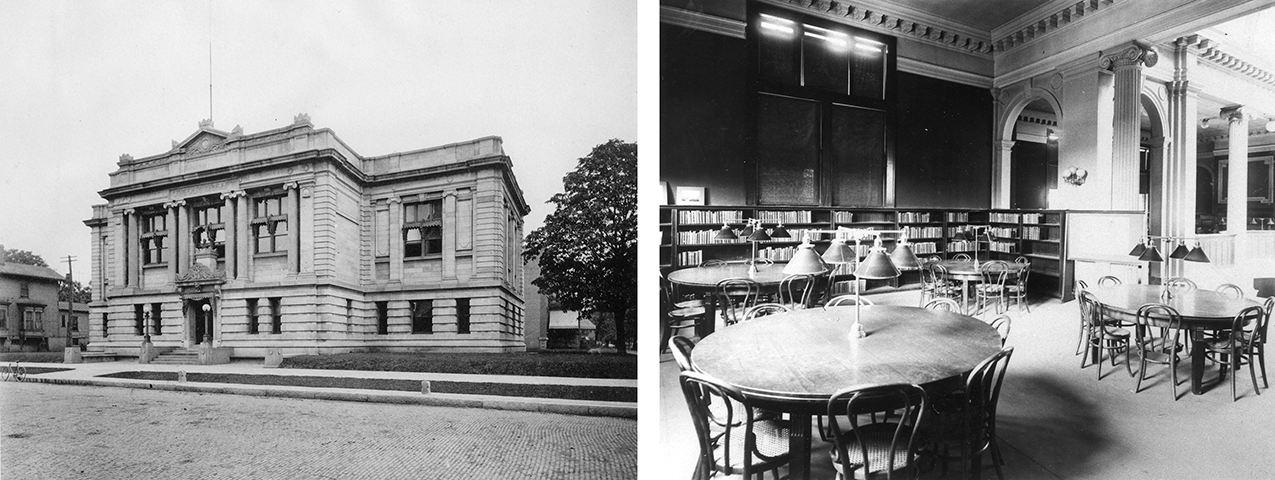 Black and white photos of the Carnegie exterior and the interior of the Carnegie Reading Room