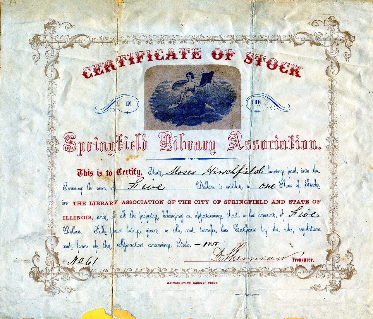 The Library Association Certificate from 1858