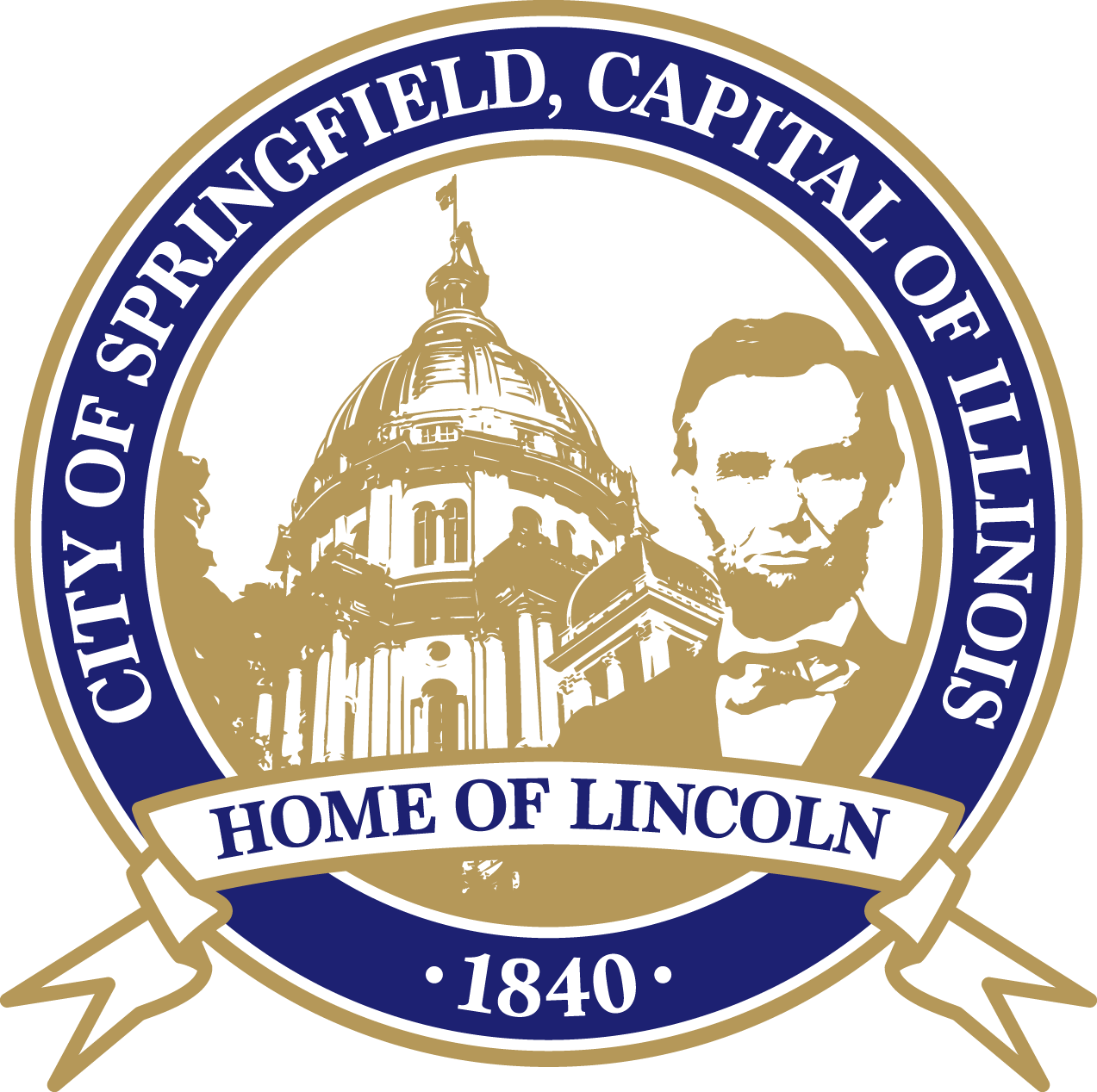 "Springfield City seal: Reads, ""City of Springfield, Capital of Illinois, Home of Lincoln, 1840"""