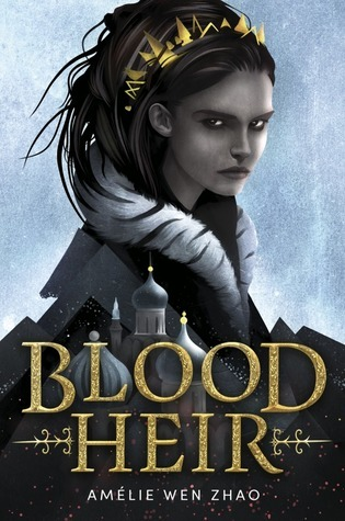 Blood Heir book cover (a young woman with wild, dark hair and an intense expression, wearing a spiky gold crown, with the silhouette of a palace beneath her)