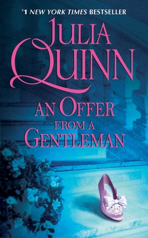 An Offer From a Gentleman book cover (a pink dress slipper sitting on a blue-toned stairway)