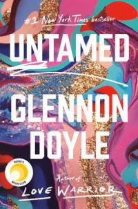 Untamed book cover (an abstract, swirl of bright paint and glitter)