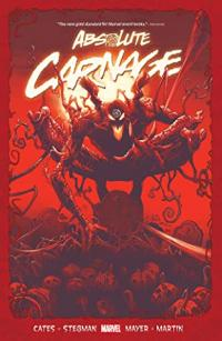 Absolute Carnage book cover (a monstrous, masked humanoid shape crouched over a pile of human bones and skull, with everything in red)