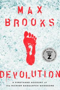 Devolution book cover (a large red footprint over a smaller white footprint, surrounded by white-blue ash)