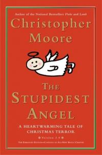 The Stupidest Angel book cover (a red cover with the title in formal gold script, with a childish cartoon drawing of an angel flying across the page)