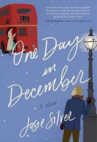 One Day in December book cover (a woman boarding a double-decker bus while a man watches from a nearby streetlight, with snow falling)