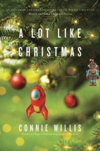 A Lot Like Christmas book cover (a close-up of a Christmas tree branch, with an ornaments shaped like a rocket ship and robot)