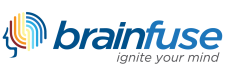 "Brainfuse logo: ""ignite your mind"""