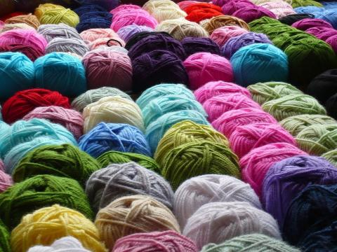 Balls of multicolored yarn
