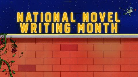 "a brick wall with a vine climbing up one side and the words ""National Novel Writing Month"" against a night sky"